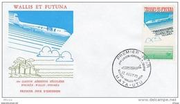 L4N060 WALLIS ET FUTUNA 1975 FDC 1ère Liaison Aérienne Nouméa Wallis Nouméa 100f Mata-Utu 13 08 1975 / Envel.  Illus. - FDC