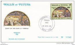 L4N110 WALLIS ET FUTUNA 1980 FDC Pâques 1980 25f Mata-Utu 28 04 1980 / Envel.  Illus. - FDC