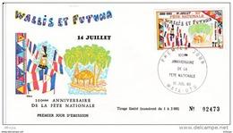 L4N112 WALLIS ET FUTUNA 1980 FDC 100è Anniversaire Fête Nationale 71f Mata-Utu 15 07 1980 / Envel.  Illus. - FDC