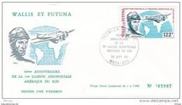 L4N114 WALLIS ET FUTUNA 1980 FDC 50è Anniversaire Liaison Aéropostale Amérique Du Sud 122f Mata-Utu 22 09 1980 / Envel. - FDC
