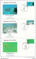 L4N121 WALLIS ET FUTUNA 1981 FDC Faune Flore Marines 28, 30,31,35,40, 55f Mata-Utu 22 06 1981/ 6 Envel.  Illus. - FDC