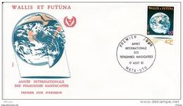 L4N124 WALLIS ET FUTUNA 1981 FDC Année Internationale Personnes Handicapées 42f Mata-Utu 17 08 1981/envel.  Illus. - FDC