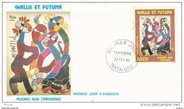 L4N130 WALLIS ET FUTUNA 1982 FDC Tapisserie Pilioho Aloi 100f Mata-Utu 22 02 1982 / Envel.  Illus. - FDC