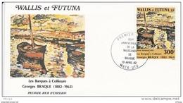 L4N132 WALLIS ET FUTUNA 1982 FDC La Barque A Collioure Georges Braque 300f Mata-Utu 13 04 1982 / Envel.  Illus. - FDC