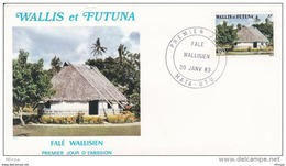 L4N144 WALLIS ET FUTUNA 1983 FDC Falé Wallisien 19f Mata-Utu 20 01 1983 /envel.  Illus. - FDC