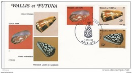 L4N159 WALLIS ET FUTUNA 1983 Coquillages FDC Conus Vitolinus Conus Marmoreus Conus Tulipa Mata-Utu 14 10 1983 /envel.  I - FDC