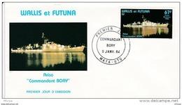 L4N160 WALLIS ET FUTUNA 1984 Bateaux FDC Aviso Commandant Bory 67f Mata-Utu 09 01 1984 /envel.  Illus. - FDC