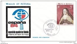 L4N165 WALLIS ET FUTUNA 1984 FDC Exposition Espana 84 70f Mata-Utu 27 04 1984 / Envel.  Illus. - FDC