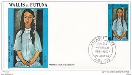 L4N170 WALLIS ET FUTUNA 1984 FDC Amédéo Modigliani 140f Mata-Utu 20 08 1984 / Envel.  Illus. - FDC