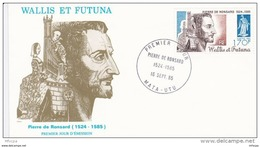 L4N185 WALLIS ET FUTUNA 1985 FDC Pierre De Ronsard 170f Mata-Utu 16 09 1985 / Envel.  Illus. - FDC