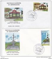 L4O136 NOUVELLE CALEDONIE 1976 FDC Aspect Du Vieux Nouméa Fontaine 30f Kiosque 25f  Nouméa 03 07  1976 / 2 Envel. Illus. - FDC
