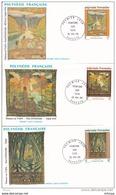 L4O211 POLYNESIE FRANCAISE 1988 FDC Peinture Sur Tapa 52f Papeete 20 05 1988 / 3 Envel.  Illus. - FDC