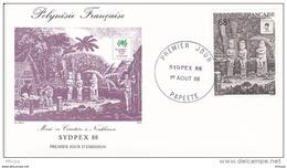 L4O214 POLYNESIE FRANCAISE 1988 FDC Sydpex88 68f Papeete 01 08 1988 / Envel.  Illus. - FDC