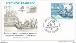 L4O227 POLYNESIE FRANCAISE 1989 FDC Philexfrance 89 100f Papeete 07 07 1989 / Envel.  Illus. - FDC