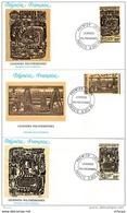 L4O235 POLYNESIE FRANCAISE 1989 FDC Légendes Polynésiennes 66, 82, 88f Papeete 06 12 1989 / 3 Envel.  Illus. - FDC