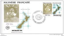 L4O245 POLYNESIE FRANCAISE 1990  FDC New Zealand 125f Papeete 24 08 1990 / Envel.  Illus. - FDC