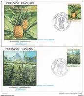 L4O250 POLYNESIE FRANCAISE 1991  FDC Ressources Traditionnelles  Ananas 42,44f Papeete 09 01 1991 / 2 Envel.  Illus. - FDC