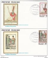 L4O251 POLYNESIE FRANCAISE 1985 FDC Folklore Polynésien 55 F 70f Papeete 17 07 1985 / 2 Envel.  Illus. - FDC