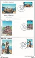 L4P008 POLYNESIE FRANCAISE 1991  FDC Sculptures Des Iles Marquises 56,102,110f Papeete 17 08 1991 / 3 Envel.  Illus. - FDC