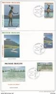 L4P010 POLYNESIE FRANCAISE 1991  FDC La Pêche Aux Cailloux 25,57,62f  Papeete 09 10 1991 / 3 Envel.  Illus. - FDC