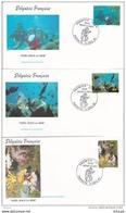 L4P013 POLYNESIE FRANCAISE 1991  FDC Noël Sous La Mer 55, 83, 86f Papeete 11 12  1991 / 3 Envel.  Illus. - FDC