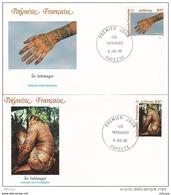 L4P019 POLYNESIE FRANCAISE 1992  FDC Les Tatouages 61,64f Papeete 08 07 1992 / 2 Envel.  Illus. - FDC