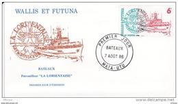 L4P047 WALLIS ET FUTUNA 1986 Bateaux FDC Patrouilleur La Lorientaise 6f Mata-Utu 07 08 1986/envel.  Illus. - Boten