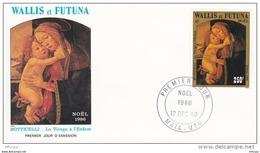 L4P054 WALLIS ET FUTUNA 1986 Noël FDC Boticelli La Vierge A L'enfant 250f Mata-Utu 12 12  1986/envel.  Illus - FDC