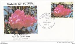 L4P051 WALLIS ET FUTUNA 1986 Fleurs FDC Fleur De Laurier Rose 97f Mata-Utu 02 10 1986/envel.  Illus. - FDC