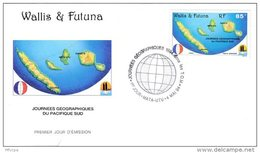 L4P223 WALLIS ET FUTUNA 1994 FDC Journées Géographiques Pacifique Sud 85f  Mata-Utu 04 05 1994/ Envel.  Illus. - FDC