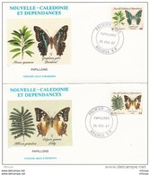 L4Q035 NOUVELLE CALEDONIE 1987 FDC Papillons 46f, 56f Nouméa 25 02 1987 / 2 Env. Illus. - FDC