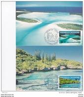L4Q120 NOUVELLE CALEDONIE 1991 FDC Paysages Régionaux 36f, 90f Nouméa 13 02 1991/ 2 Cartes Max. - Maximumkaarten