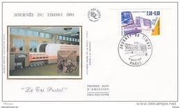 L4R189 FRANCE 1991 FDC Journée Du Timbre 2,50+0,60f Paris 16 03 1991/ Envel.  Illus. - Stamp's Day