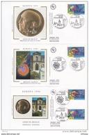 L4R370 FRANCE EUROPA 1994 FDC Europe Des Découvertes 2,80f 3,70  Paris Strasbourg 30 04 1994/3 Envel.  Illus. - 1992