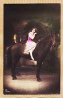 Ani134 Photo-Peinte CHEVAL écuillère Jeune Fille 1910s De Françoise AURIOL à CABROL Bv Miredames Castres - Chevaux
