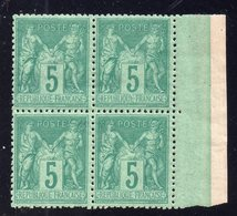 Type Sage N° 75f Neuf **/* Gomme D'Origine En Bloc De 4  TB - 1876-1898 Sage (Type II)