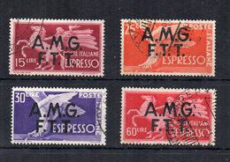 Italia -Trieste - Zona A - A.M.G. F.T.T. - 1947/48 - Espressi Sovrastampati Su 2 Righe - 4 Valori - Usati - (FDC21244) - 7. Trieste