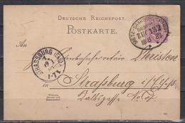 """Dt.Reich Bahnpost-o """" METZ-SAARBURG (LOTHR:) ZUG 132/18.8.89 Auf Ganzsache P 18 - Germany"""