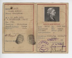 ° WW2 ° ETAT FRANCAIS ° CARTE D'IDENTITE DE FRANCAIS ° GARD 1943 ° - Documents Historiques