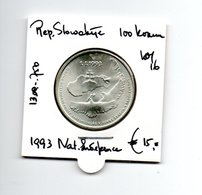 REP. SLOWAKIJE 100 KORUN 1993 ZILVER NATIONAL INDEPENDENCE - Slowakei
