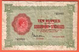 SEYCHELLES Billet  10 Rupees  07 04 1942 - Pick 9 - Seychellen