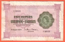 SEYCHELLES Billet  5 Rupees  01 08 1954 - Pick 11a - Seychellen