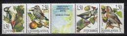 Yugoslavia,Protected Animal Species-Birds 1997.,strip Of 5,MNH - 1992-2003 República Federal De Yugoslavia
