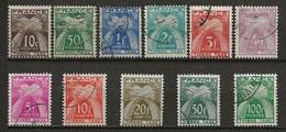 FRANCE:, Obl., TAXE N° YT 78 à 89, Série, TB - Postage Due