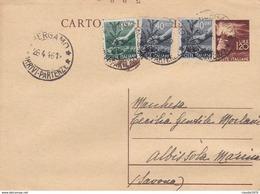 ITALIA - INTERO POSTALE - LIRE. 1.20 CON F.LLI AGGIUNTA - VIAGGIATA DA BERGAMO PER ALBISSOLA MARINA (SAVONA) - Marcofilie