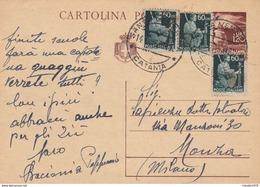 ITALIA - INTERO POSTALE - 1.20 CON F.LLI AGGIUNTA - VIAGGIATA DA SANTA VENERINA (CATANIA) PER MONZA - Marcophilie