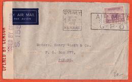 AUSTRALIE LETTRE CENSUREE DE 1940 DE SYDNEY POUR PENANG MALAISIE - Cartas