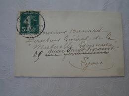 Hadol Facteur Boitier Obliteration Sur Lettre Carte De Visite Ravon Instituteur - 1921-1960: Modern Tijdperk
