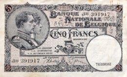 Belgium 5 Francs, P-108 (28.4.1938) - Fine - [ 2] 1831-... : Reino De Bélgica