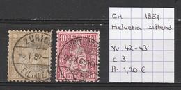 Zwitserland 1867 - Zittende Helvetia - Yv. 42-43 Gestempeld/oblitéré/used - Usati